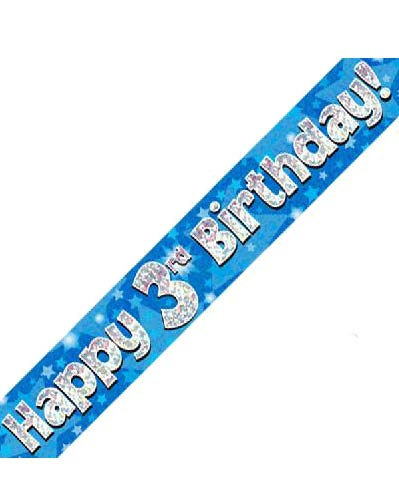 Happy 3rd Blue Holographic Birthday Banner