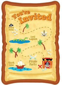 Pirate Party Postcard Invitations And Envelopes (8 Pack)