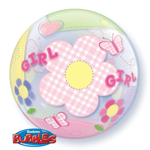 Baby Girl Helium Filled Single Bubble Balloon