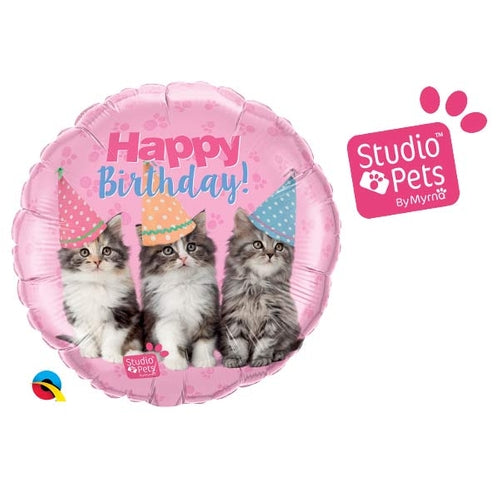 Happy Birthday Kittens Helium Filled Foil Balloon