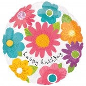 Spring Flowers Happy Birthday Helium Filled Foil Balloon