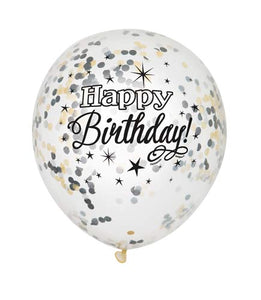 Happy Birthday Clear Latex Balloons With Black, Silver And Gold Confetti (6 Pack)