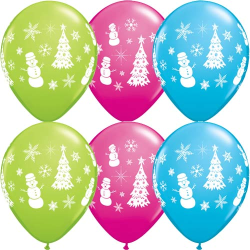 Festive Winter Scene Christmas Latex Balloons x6 (Sold loose)