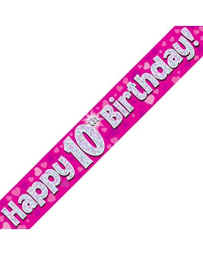Happy 10th Birthday Pink Holographic Banner