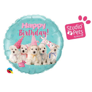 Happy Birthday Puppies Helium Filled Foil Balloon