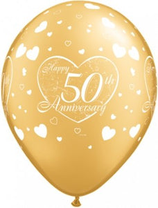 Happy 50th Anniversary Gold Latex Balloon (Sold loose)