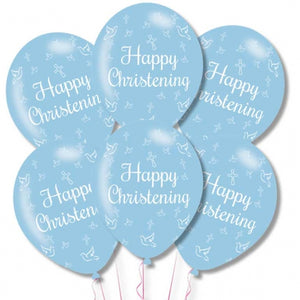 Blue Happy Christening Latex Balloons (6 Pack)