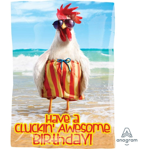Have A Cluckin' Awesome Birthday! Junior Shape Helium Filled Foil Balloon