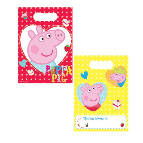 Peppa Pig Red/Yellow Party Loot Bags x8