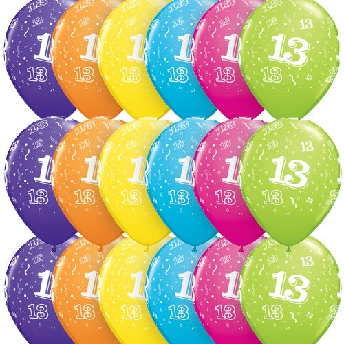 13 Around Tropical Latex Balloons In Assorted Colours x10 (Sold loose)