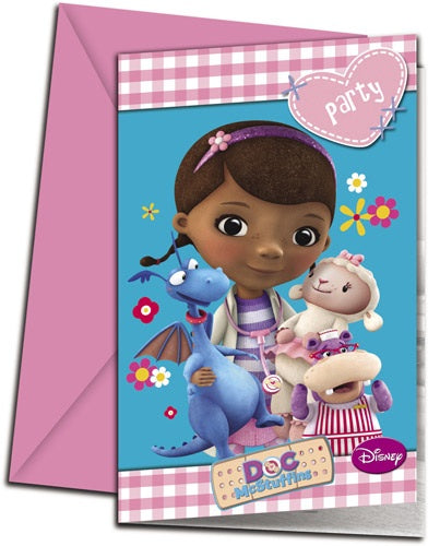 Disney Doc McStuffins Invitations And Envelopes (6 Pack)