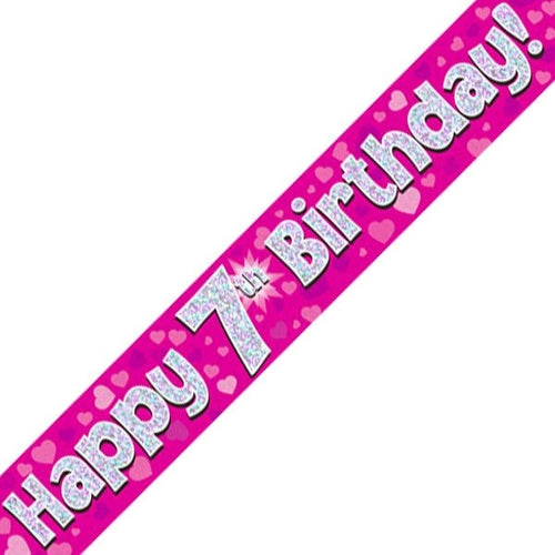 Happy 7th Birthday Pink Holographic Banner