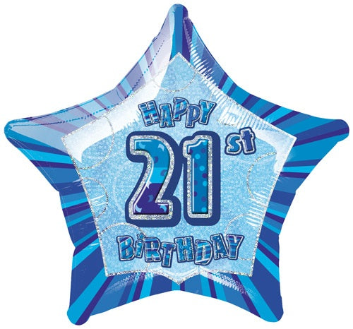 Happy 21st Birthday Blue Glitz Helium Filled Foil Balloon