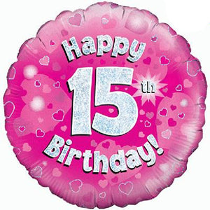 Happy 15th Birthday Pink Helium Filled Foil Balloon