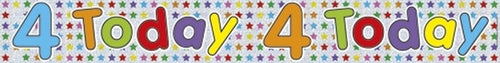 4 Today Holographic Birthday Banner