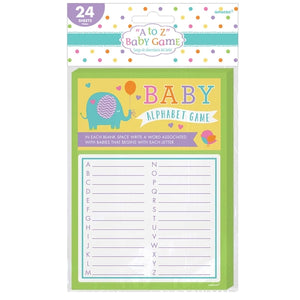 A To Z Baby Shower Alphabet Game x24