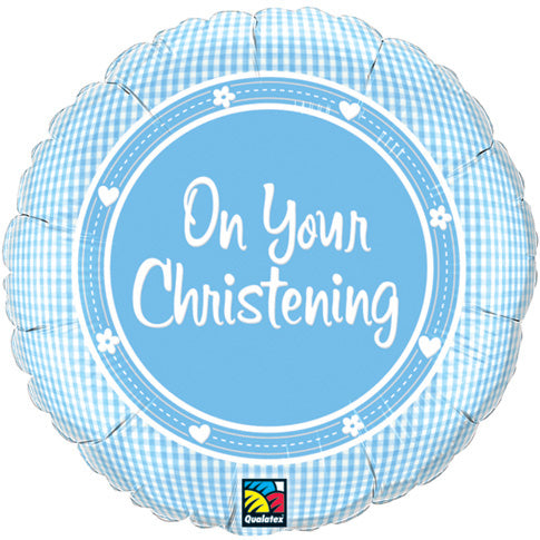 On Your Christening Blue Helium Filled Foil Balloon