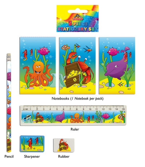 Sealife 5 Piece Stationery Set