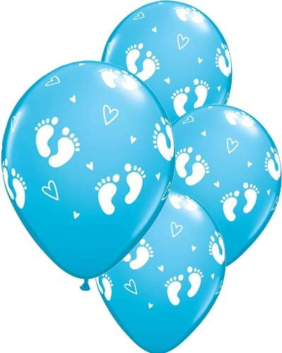 Baby Boy Footprints And Hearts Latex Balloon (Sold loose)