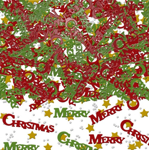 Merry Christmas Red And Green Metallic Confetti 14g