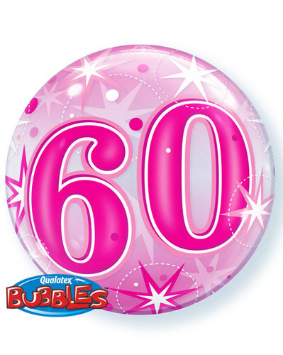 Pink 60 Helium Filled Single Bubble Balloon
