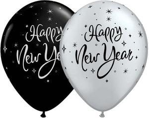 New Year Sparkle Latex Balloons x6 (Sold loose)