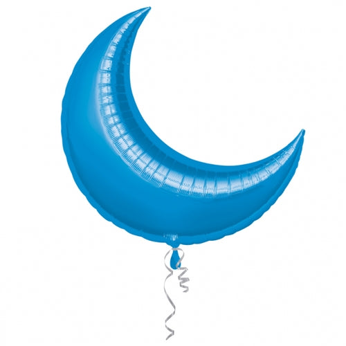 Blue Crescent Shape Helium Filled Foil Balloon