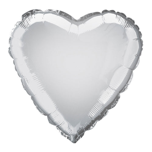 Silver Heart Shape Helium Filled Foil Balloon