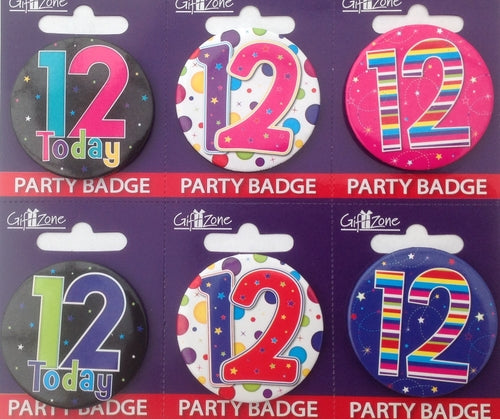 Age 12 Small Birthday Badge