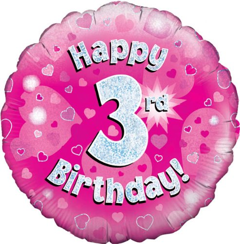 Happy 3rd Birthday Pink Helium Filled Foil Balloon