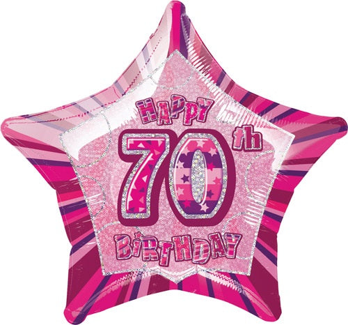 Happy 70th Birthday Pink Glitz Helium Filled Foil Balloon