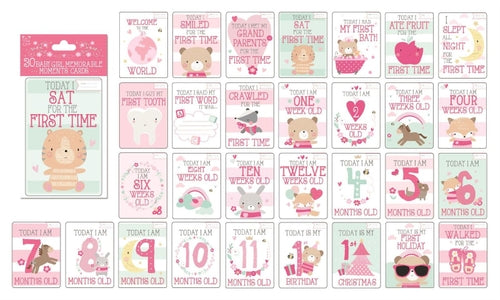30 Baby Girl Memorable Moments Cards