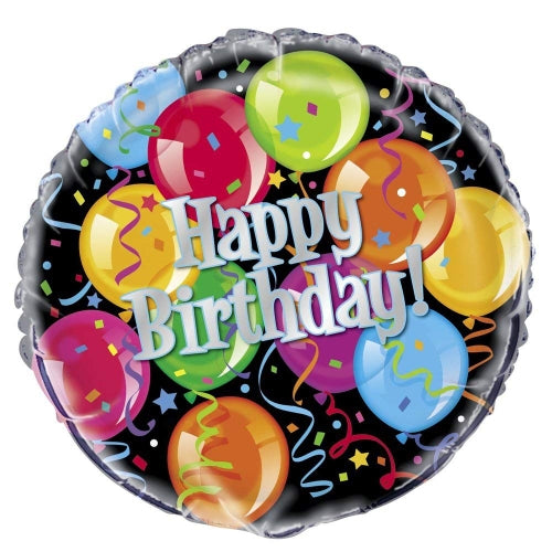 Happy Birthday Colourful Balloons Helium Filled Foil Balloon