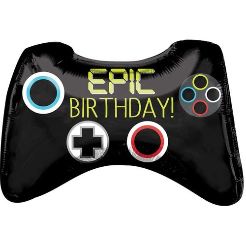 Epic Birthday Game Controller Supershape Helium Filled Foil Balloon