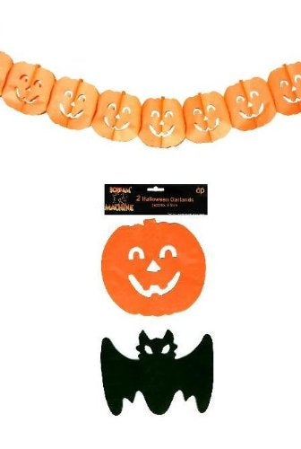 Spooky Halloween Garlands x2 (Pumpkin & Bat)