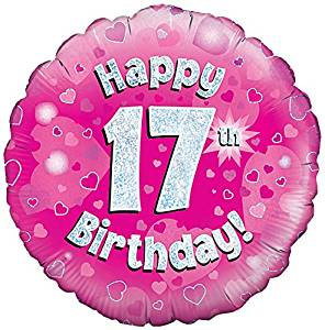 Happy 17th Birthday Pink Helium Filled Foil Balloon