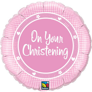On Your Christening Pink Helium Filled Foil Balloon