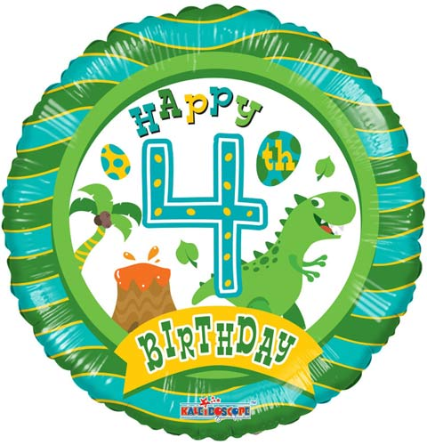 Happy 4th Birthday Dinosaur Helium Filled Foil Balloon