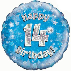Happy 14th Birthday Blue Helium Filled Foil Balloon