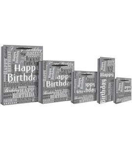 Silver Foil Happy Birthday Perfume Gift Bag