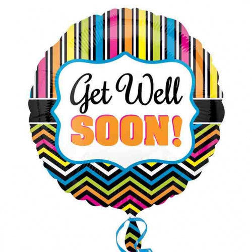 Get Well Soon Stripes Helium Filled Foil Balloon