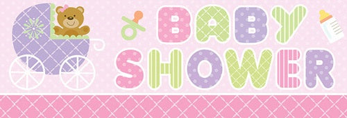 Pink Teddy Giant Baby Shower Banner