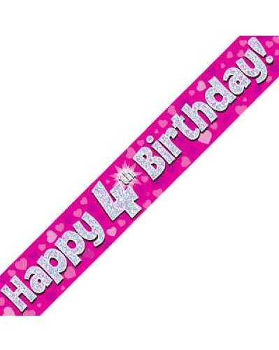 Happy 4th Pink Holographic Birthday Banner