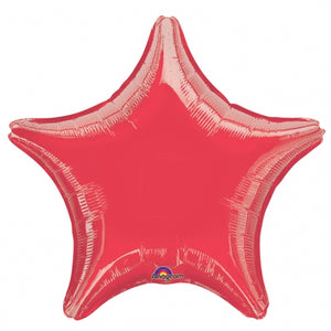 Red Star Shape Helium Filled Foil Balloon