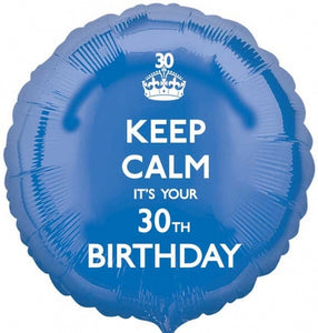 Keep Calm It's Your 30th Birthday Helium Filled Foil Balloon