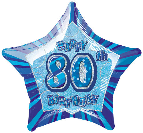Happy 80th Birthday Blue Glitz Helium Filled Foil Balloon