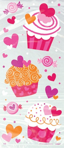Cupcakes And Hearts Cello Party Loot Bags x20