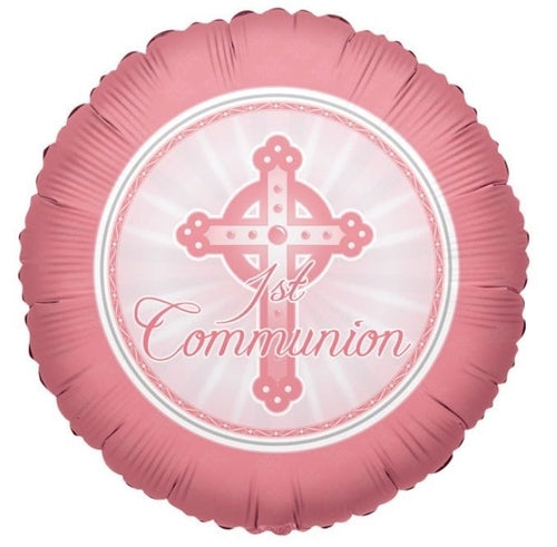 Pink 1st Communion Helium Filled Foil Balloon