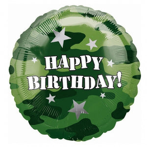 Happy Birthday Camouflage Helium Filled Foil Balloon