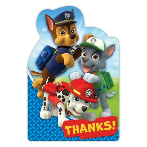 Paw Patrol Thank You Cards And Envelopes (8 Pack)